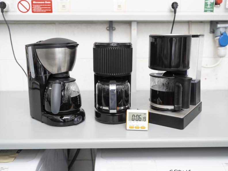 Tiden för att brygga 5 koppar eller 650 ml kaffe mättes. Foto: Niel Long