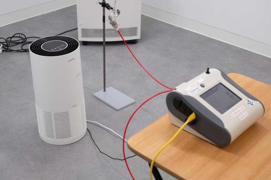 Testmiljön riggas inför mätning av luftreningskapaciteten. Foto: Redshift Photography